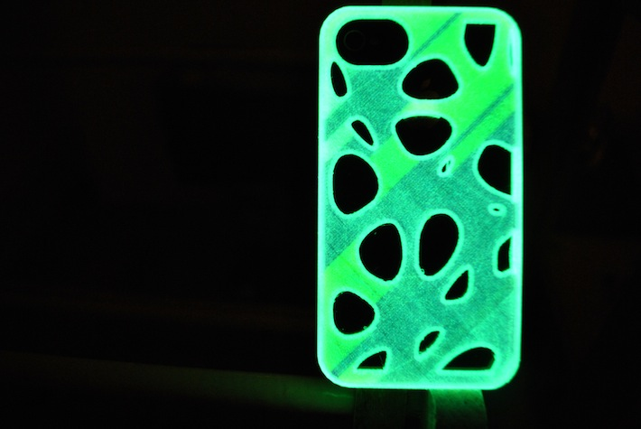 fluorescent iphone case designed and 3D printed by parametric | art