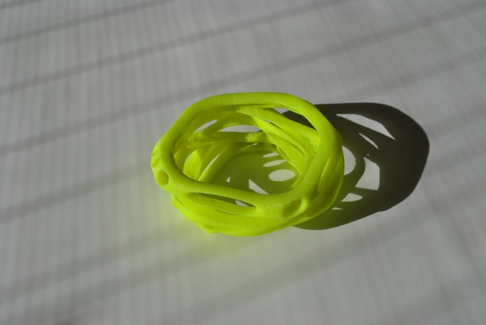 generative bracelet designed by parametric | art 3D printed with neon yellow PLA