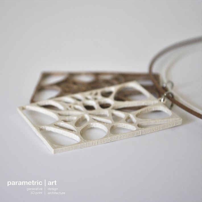voronoi pendant designed by parametric | art 3D printed with wood and sandstone