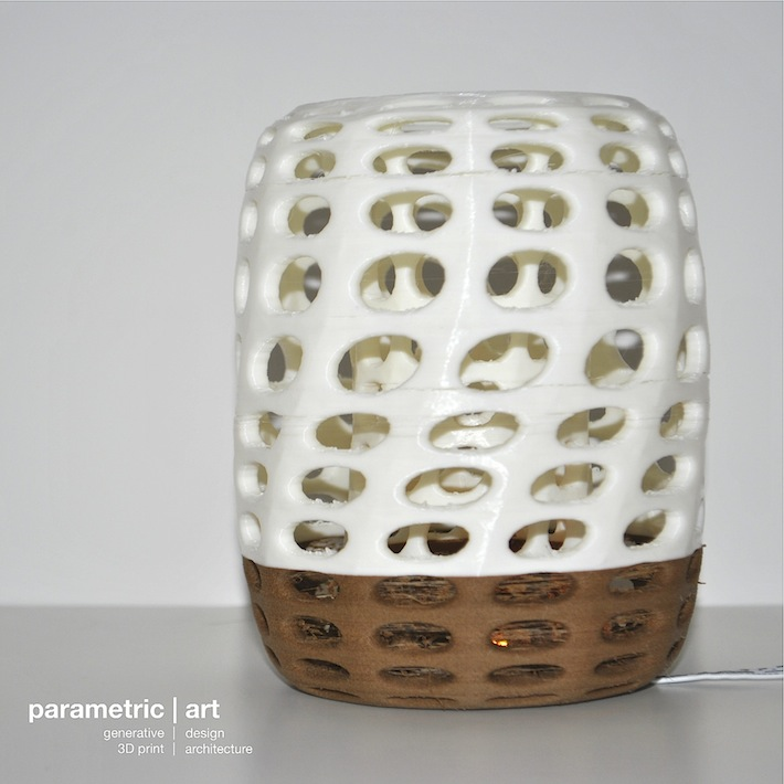 generative lampshade designed by parametric | art 3D printed with wood and PLA