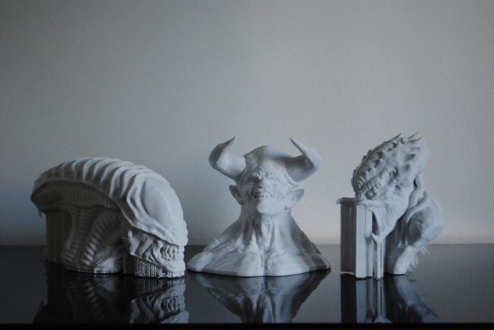 3d printed Alien, Predator and Diablo figurines. Models from Thingiverse. 3D printed by parametric ą rt on a Makerbot Replicator 2 desktop 3d printer using GigamaX3D PLA filament
